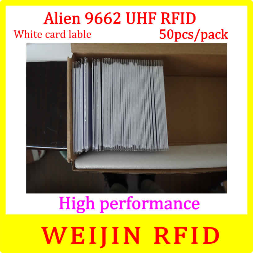 Alien authoried 9662 860-960MHZ UHF RFID Card 50 pcs per pack Alien Higgs3 915M EPC 54x86x0.9mm PVC card free shipping