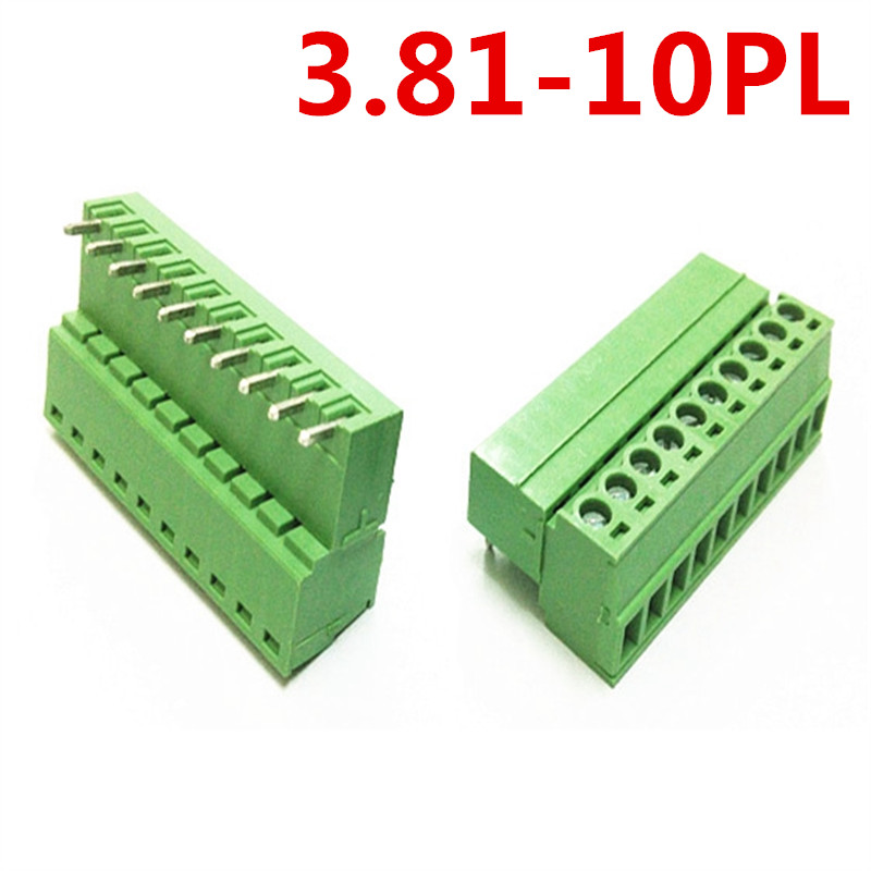 10sets 10 Pin Right Angle Bend Universal Pluggable Type 3.81mm pitch Green Screw Terminal Block Connector Pin header and socket