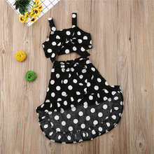 US $5.45 23% OFF|Kids Baby Girls Polka Dot Clothes Sets Vintage Sling Bow Vest Crop Tops Irregular Lace up Skirts 2Pcs Girl Summer Outfits 1 6Y-in Clothing Sets from Mother & Kids on Aliexpress.com | Alibaba Group
