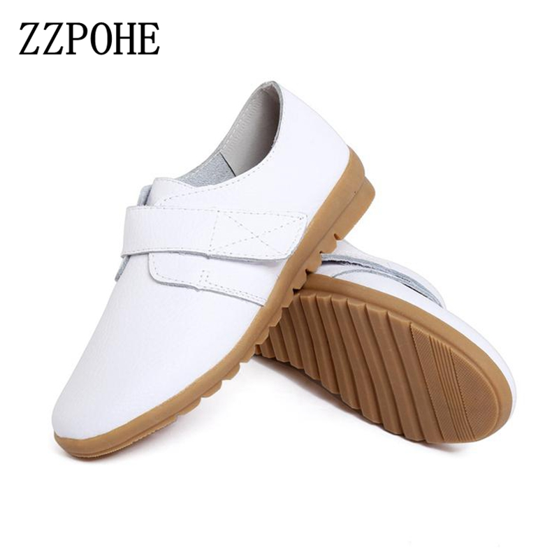 ZZPOHE Spring new Female singles shoes Soft bottom skid comfortable flat shoes mother Plus Size white nurse shoes Women's shoes aiyuqi 2018 new women s genuine leather shoes casual flat bottom breathable wear comfortable mother shoes female size 41 42 43