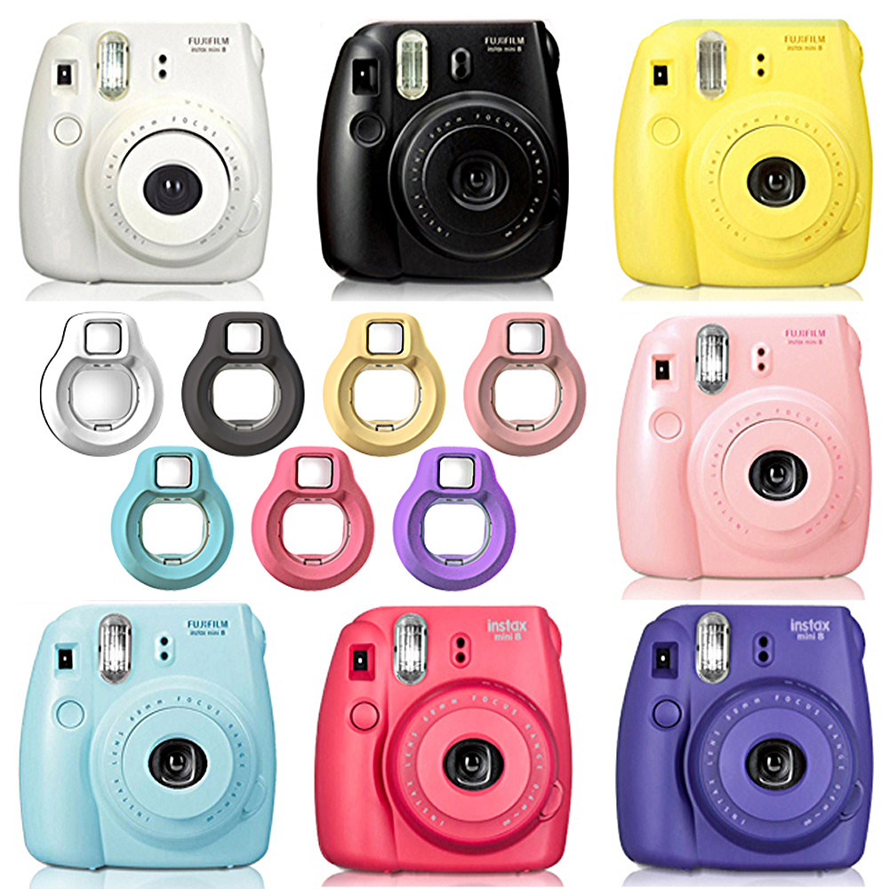 Fuji Fujifilm Instax Mini 8 Instant Camera Black, White, Pink, Blue, Raspberry, Grape + Close-up Lens Selfies Mirror