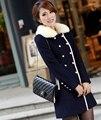 Mujeres elegante abrigo de lana femenino cruzado señoras chaqueta de cuello de piel sintética invierno caliente outwear abrigo de lana de las mujeres LX6015