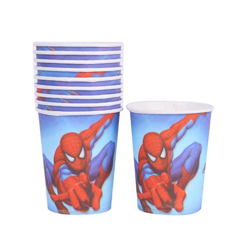 Spiderman ตกแต่ง Party favors ถ้วยกระดาษแผ่นส้อมธงเด็กวันเกิด Party Disposable Tableware ชุด