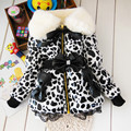 BibiCola children parkas Leopard Faux Fur Collar Coat Girl Children leather Winter warm snowsuit christmas Outerwear down Jacket