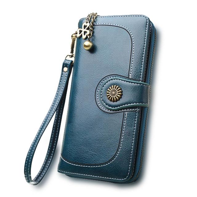 2018 New Hot Sale Women Clutch Wallet Split Leather Wallets Female Long Wallet Women Zipper Purse Strap Coin Purse For iPhone 7
