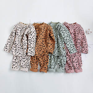 Pajamas-Set Sleepwear Evening-Dress Girls Leopard Kids Children Autumn Print Cotton 18m-8yrs