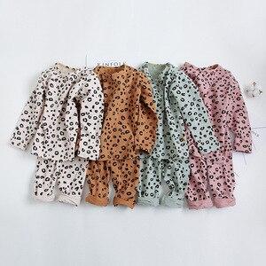 Spring Autumn Baby Boys Girls Pajamas Set 18M-8yrs Children Kids Print Leopard Sleepwear Lounge Wear Cotton Girls Evening Dress(China)