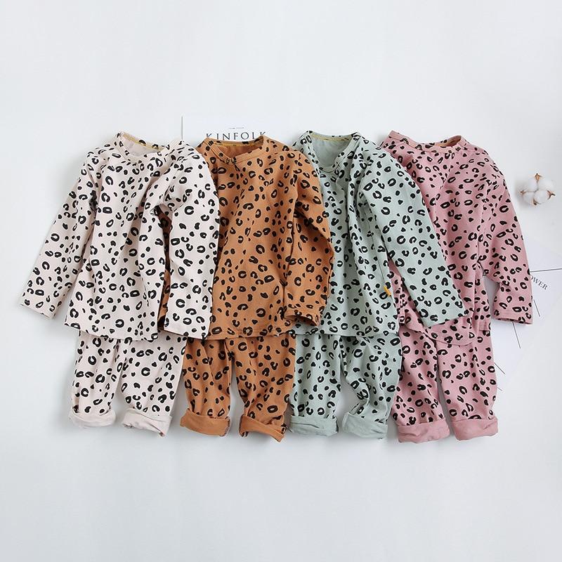 Spring Autumn Baby Boys Girls   Pajamas     Set   2-8yrs Children Kids Print Leopard Sleepwear Lounge Wear Cotton Girls Evening Dress