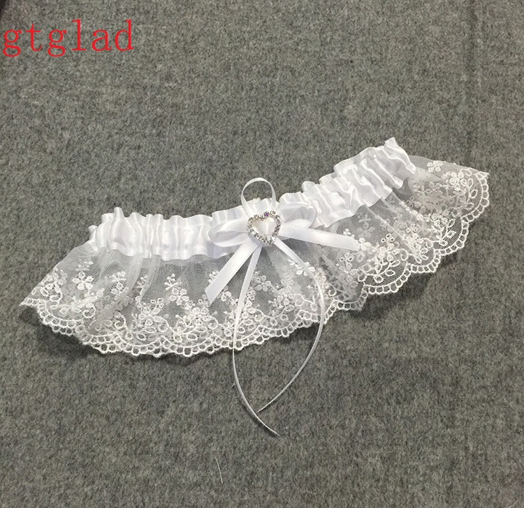 What Is A Garter At A Wedding: Wedding Garter Rhinestone Beading White Embroidery Floral