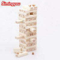 Simingyou 51 Pcs Wooden Puzzle The Logs Are Stacked High Digital Cognition Toys For Children B40