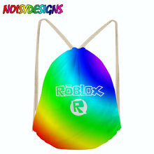 3D Roblox Toys Print Drawstring Bags for Men Women Gym Sack Bag Large String travel Backpack Junior Printing School Bag mochila(China)