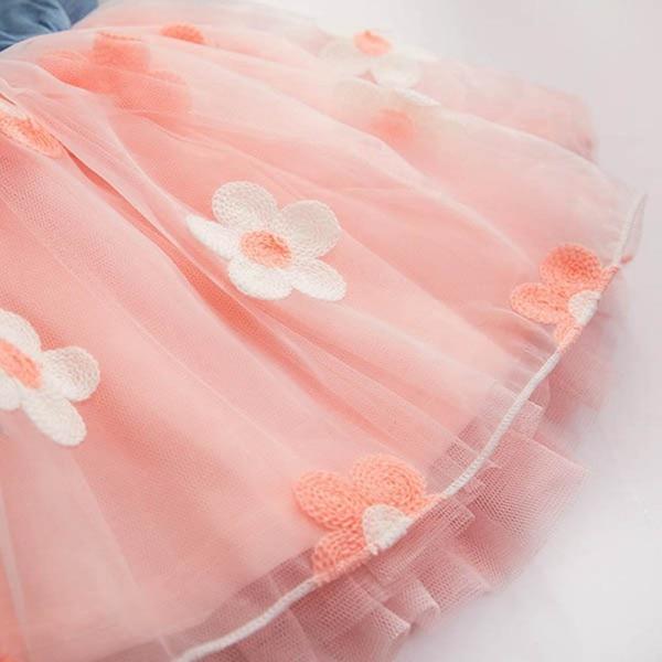 Summer Girls Cute Princess Dress Children Baby Kids Denim Shirt Tulle Tutu Dress Clothes 2-7T 17
