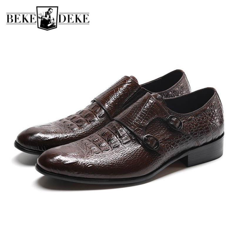 2019 New British Style Men Genuine Leather Shoes Luxury Brand Pointed Business Formal Shoes Double Buckle Wedding Dress Shoes2019 New British Style Men Genuine Leather Shoes Luxury Brand Pointed Business Formal Shoes Double Buckle Wedding Dress Shoes