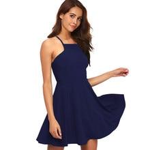 5c32c30ca Berydress Sexy A Linha de Cintas de Espaguete Mini Vestido Sem Costas  Feminino Melancia Vestido de Festa Azul Royal Vestidos Ska.