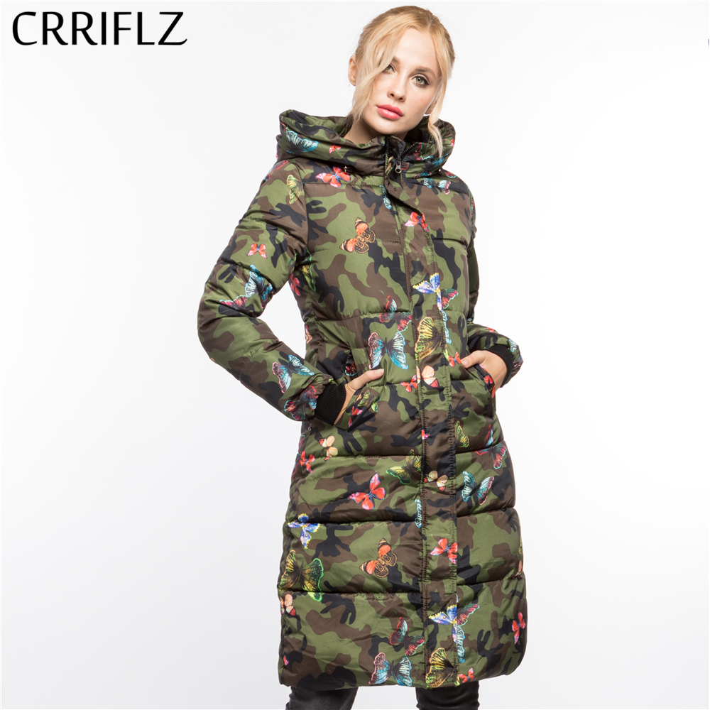 Fashionable Army Green Butterfly Print Warm Winter Jacket Women Hooded Coat Down   Parkas   Long Female Outerwear CRRIFLZ 2018 New