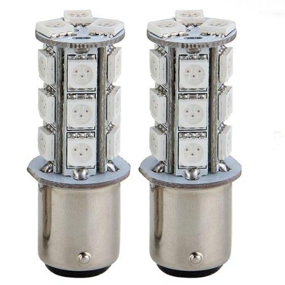 2 Pcs Of MOOL  2x1157 SMD 5050 18 Red LED Flash Car Brake Tail Rear Signal Stop Light Lamp Bulb