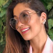 Прозрачные Круглые Солнцезащитные очки Роскошные модные женские негабаритные оттенки известный бренд женские очки ретро солнцезащитные очки zonnebril