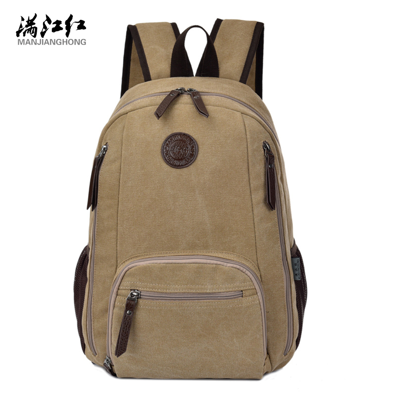 все цены на Male and Famale Canvas Backpack Bag Preppy Style Manjianghong Washed Cotton Canvas Bag Schoolbag Backpack for 15