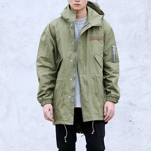 2016 warm GREEN Hip Hop Winter Jacket Coat fashion men Casual jackets  Oversize green long army military jacket windbreaker 9a6279093229