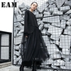 EAM 2017 New Autumn Winter Round Neck Long Sleeve Gauze Split Joitn Solid Color Wollen