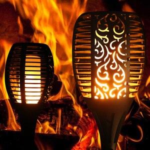 Image 2 - 96 LED s flamme solaire scintillement lampe de jardin torche lumière IP65 projecteurs extérieurs paysage décoration lampe à Led pour les voies de jardin