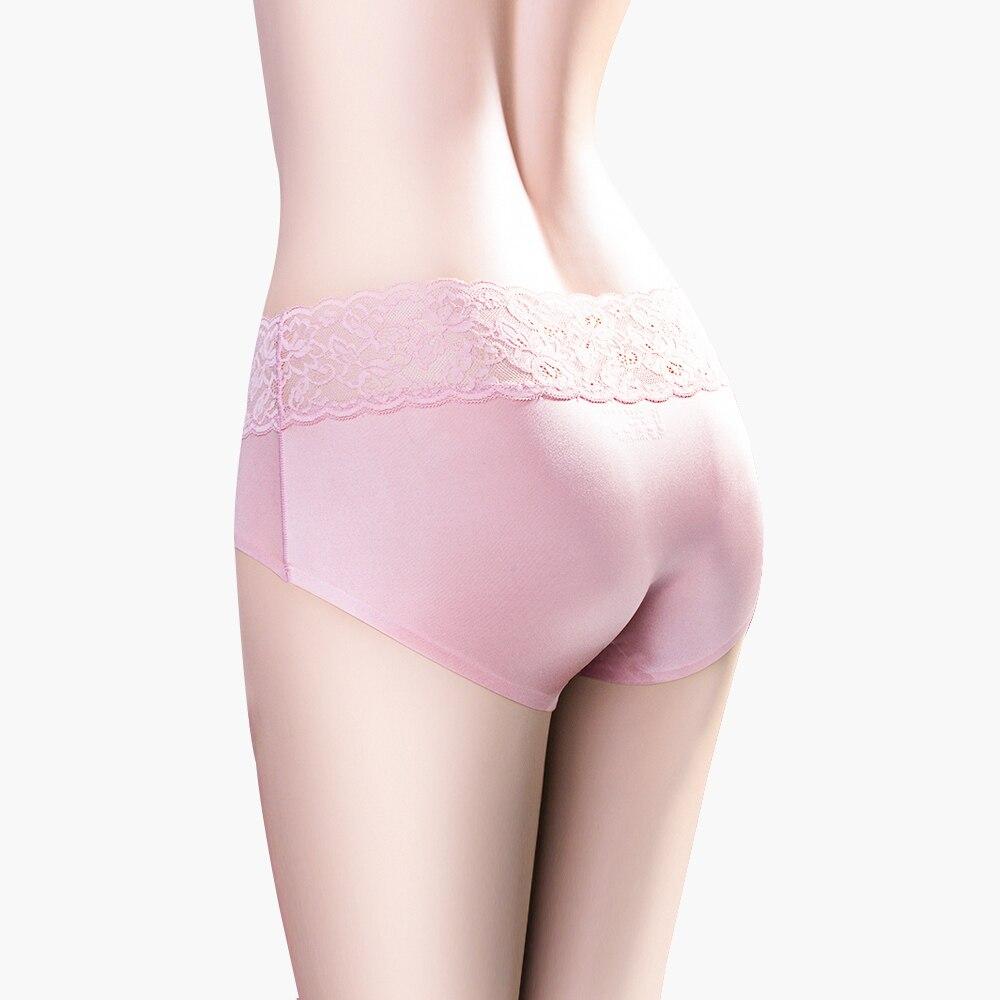 DULASI Sexy Silk Panties Women Underwear Seamless Lace Cotton Mid-Rise Cute Briefs For Girls Ladies Bikini Erotic Panty 4pcs/lot 1