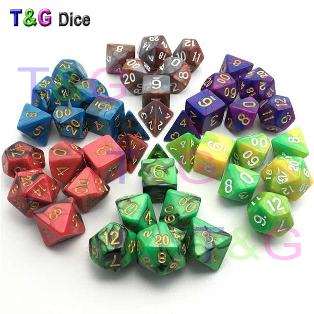 Top Quality 7pcs Mix Color Dice Set With Nebula Effect Juegos De