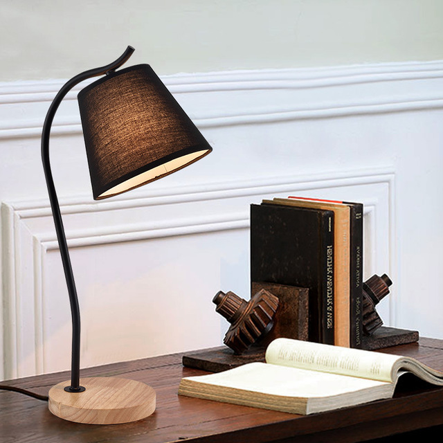 US $46.8 |Modern Simple European Table Lamps Living Room Bedroom Bedside  Light Study Reading Desk Lamp 90 260V E14 wood Light Base-in Desk Lamps  from ...