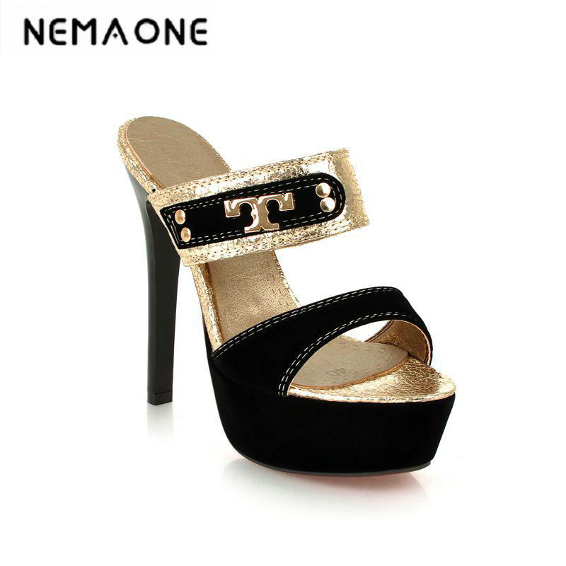 New sexy women sandals thin high heel slippers high heels platform shoes woman black gold large size 34-43 padegao 2017 new fashion high heels women sandals sexy decorated with metal chain wear convenient cool slippers shoes women shoe