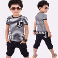 Baby & Kids Summer Sailor Stripe Kids clothing set short sleeve T-shirts Tops Pants Outfit Kids Boys Costumes 5
