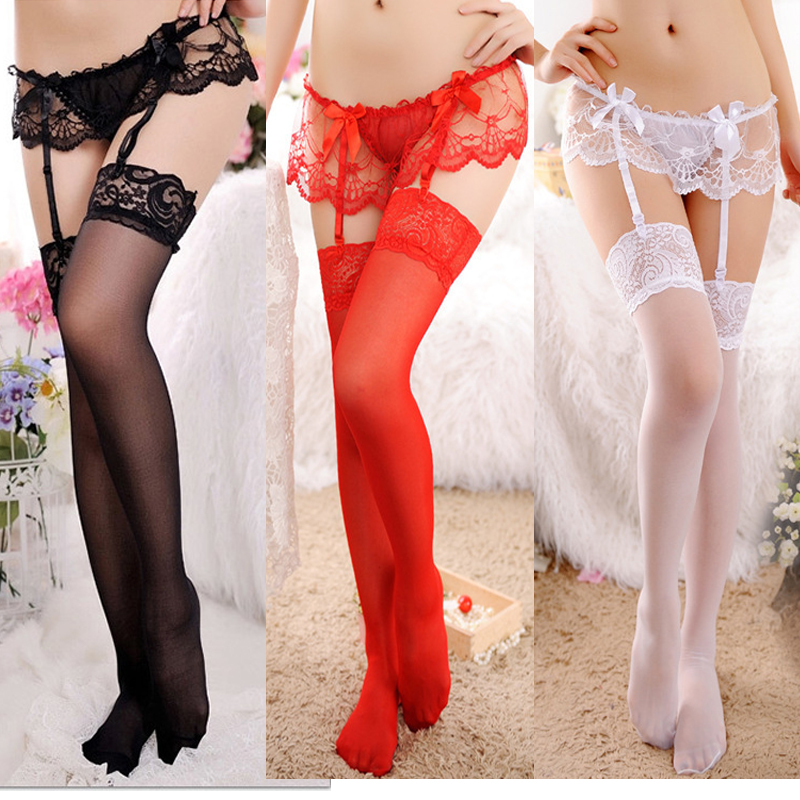 Underwear Sexy Womens Sheer Lace Top Thigh-Highs Stockings & Garter Belt Suspender Set Lace Sexy Lingerie