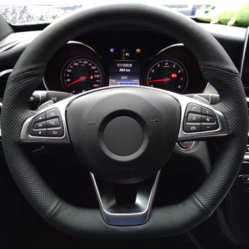 Preto couro do falso do plutônio mão-costurado volante do carro capa para mercedes benz c200 c250 c300 b250 b260 a200 a250 esporte cla220