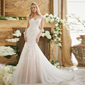 Vestidos De Novia Sexy Robe De Mariage Tulle With Applique Lace Buttons Back See Through Long Wedding Dresses 2017 New WM103