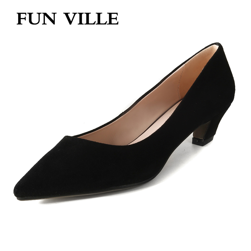 FUN VILLE 2018 Spring New Women Pumps kid suede High Heels Party shoes Square heel Pointed Toe Lady Shoes sexy Plus Size 34-43 women s high heels women pumps sexy bride party square heel square toe rivets high heel shoes