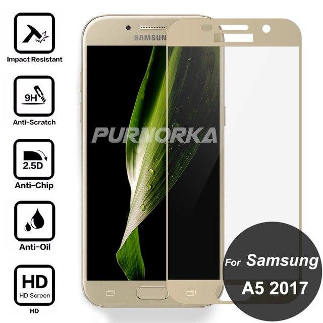 Para Samsung Galaxy A5 2017 9 H Vidro Temperado Protetor de Tela de Cobertura Completa de Segurança Cobrindo Película Protetora Em UM 5 7 A520 A520F