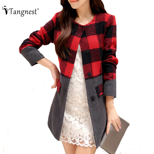 TANGNEST Casaco Feminino Winter Coat 2016 New Fashion Plaid Contrast Color O-Neck Single Breasted Ladies Wool & Blends WWN700