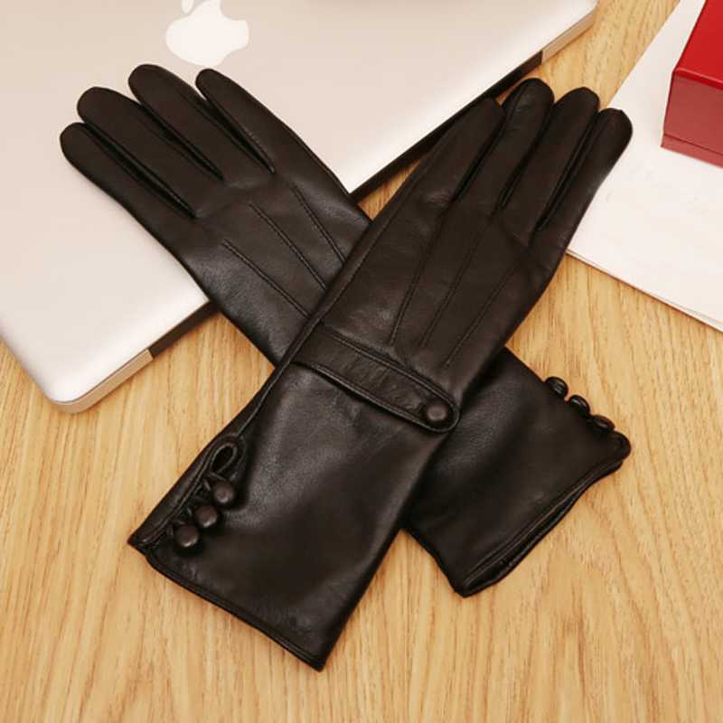 women new mid length three buttons style real sheep leather black gloves