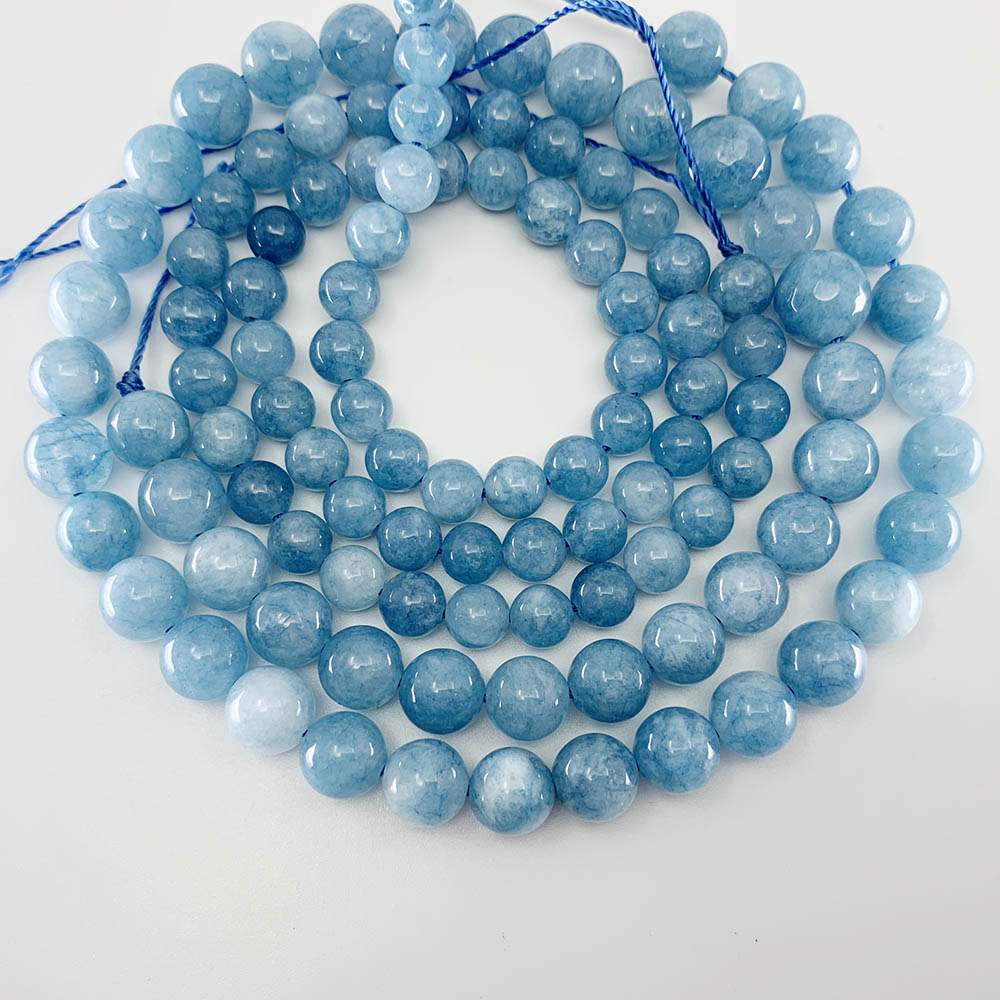 1 Strand/lot Natural Gem Blue Chalcedony Aquamarin Angelite Strand Beads Stone Round Loose Spacer Beads For DIY Jewelry Making