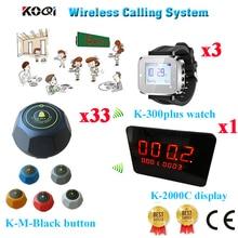 Беспроводной стол звонок службы вызова официанта пейджер системы зуммер 1-ключ звонок с CE(1 дисплей+ 3 Часы+ 33 кнопки вызова