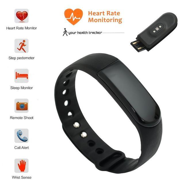 Ritmo Cardíaco Reloj Pulsera Inteligente Pulsómetro Inteligente Muñequera Banda de Fitness Inalámbrico para Android iOS