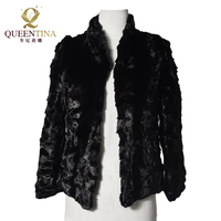 Women Natural Mink Fur Coat Stand Collar Fashion Jacket Mink Fur Coat Long Sleeve Black Elegant Genuine Fur Coat Mandarin Collar