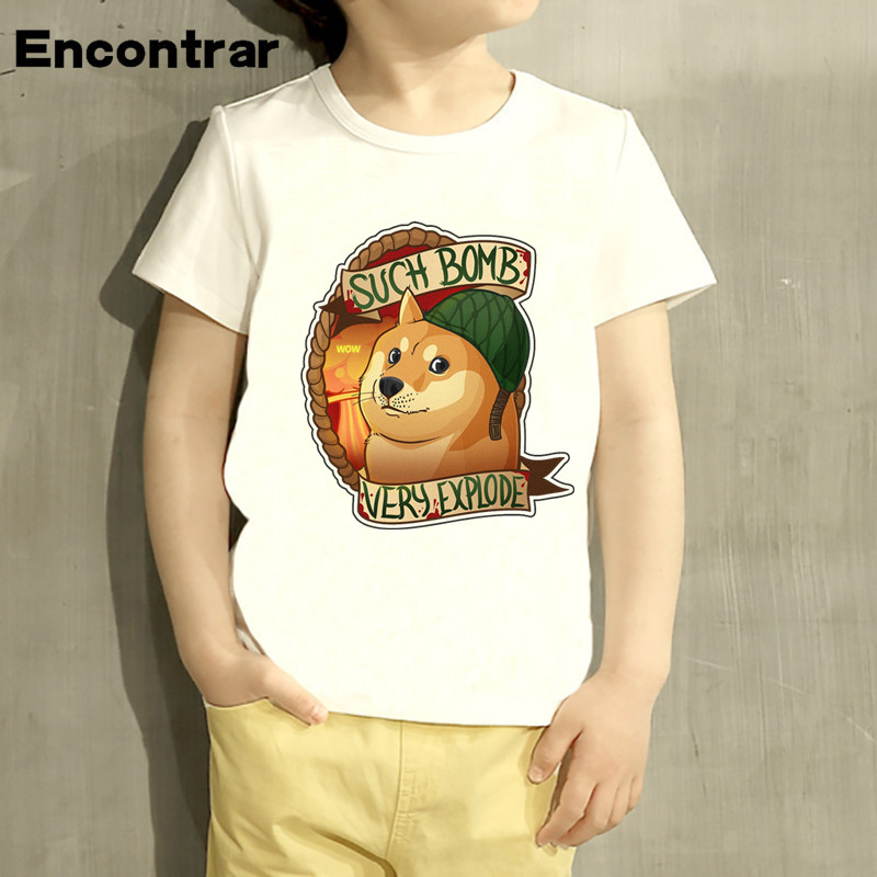 Kids Doge Deus God Dog shiba Inu Design Baby Boys/Girl TShirt Kids Funny Short Sleeve Tops Children Cute T-Shirt,HKP4041