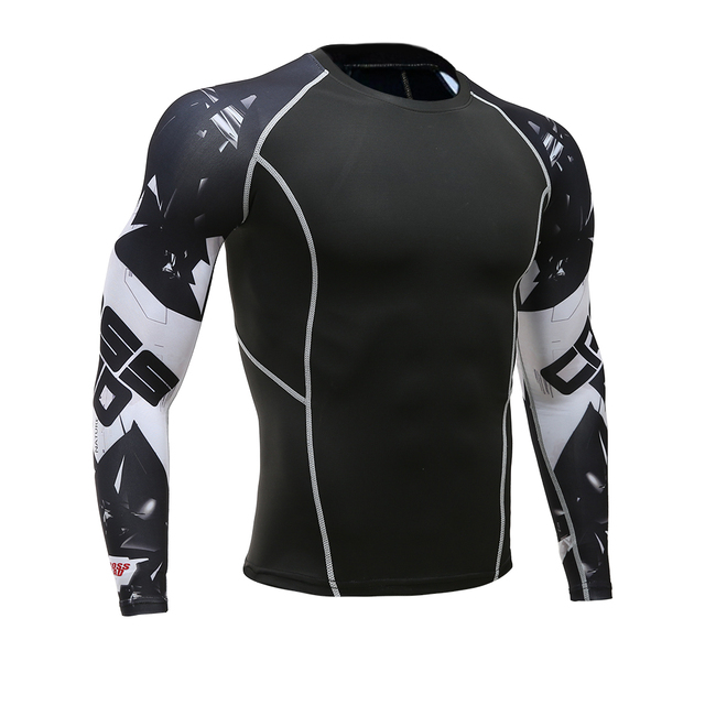 Mens Fitness 3D Print Long Sleeve Cycling Base Layers Men Skin Tight  Thermal Jerseys Compression Shirts 70f3653d8