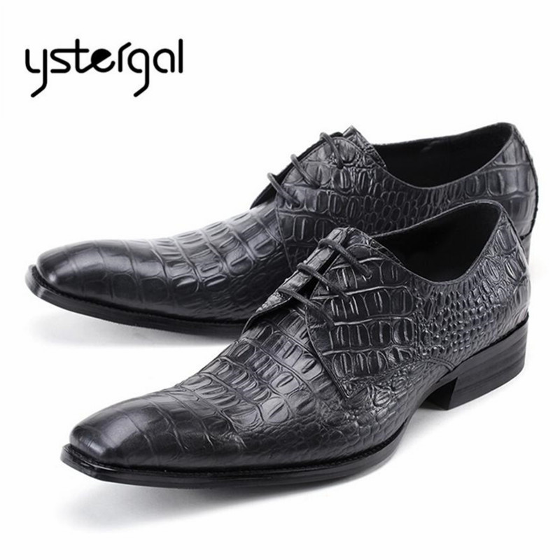 YSTERGAL Designer Black Men Genuine Leather Oxford Shoes Lace Up Mens Wedding Dress Shoes Square Toe Flats Chaussure Homme good quality men genuine leather shoes lace up men s oxfords flats wedding black brown formal shoes