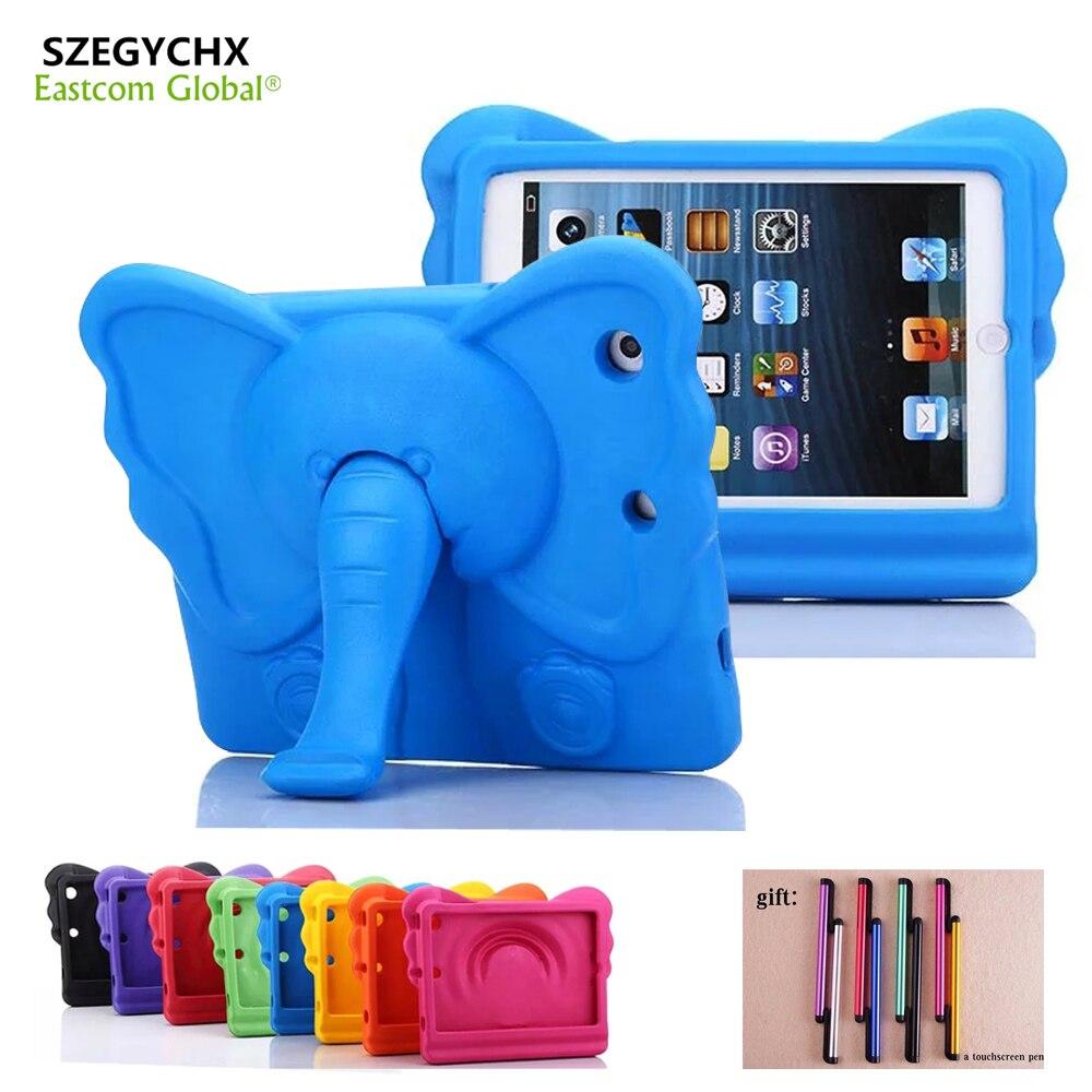 SZEGYCHX Tablet Case For iPad Mini 1 2 3 Mini 4 Elephant Nose Cute 3D Cartoon Handle Stand Kids Shockproof EVA foam Case Cover стоимость