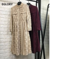 2018 Autumn Fashion Lace Dress for Party Chic Women Crochet Lace Embroidery Long Sleeve Casual Vintage Retro Dress Vestidos