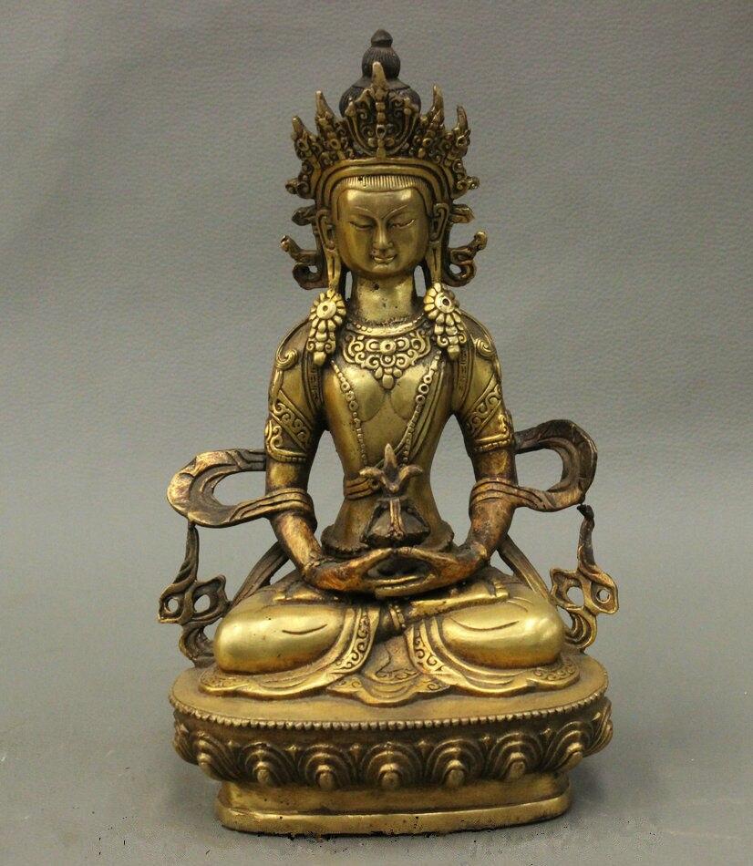 Tibet Tibetan Buddhism Bronze Longevity Buddha Amitayus Goddess Lotus Statue