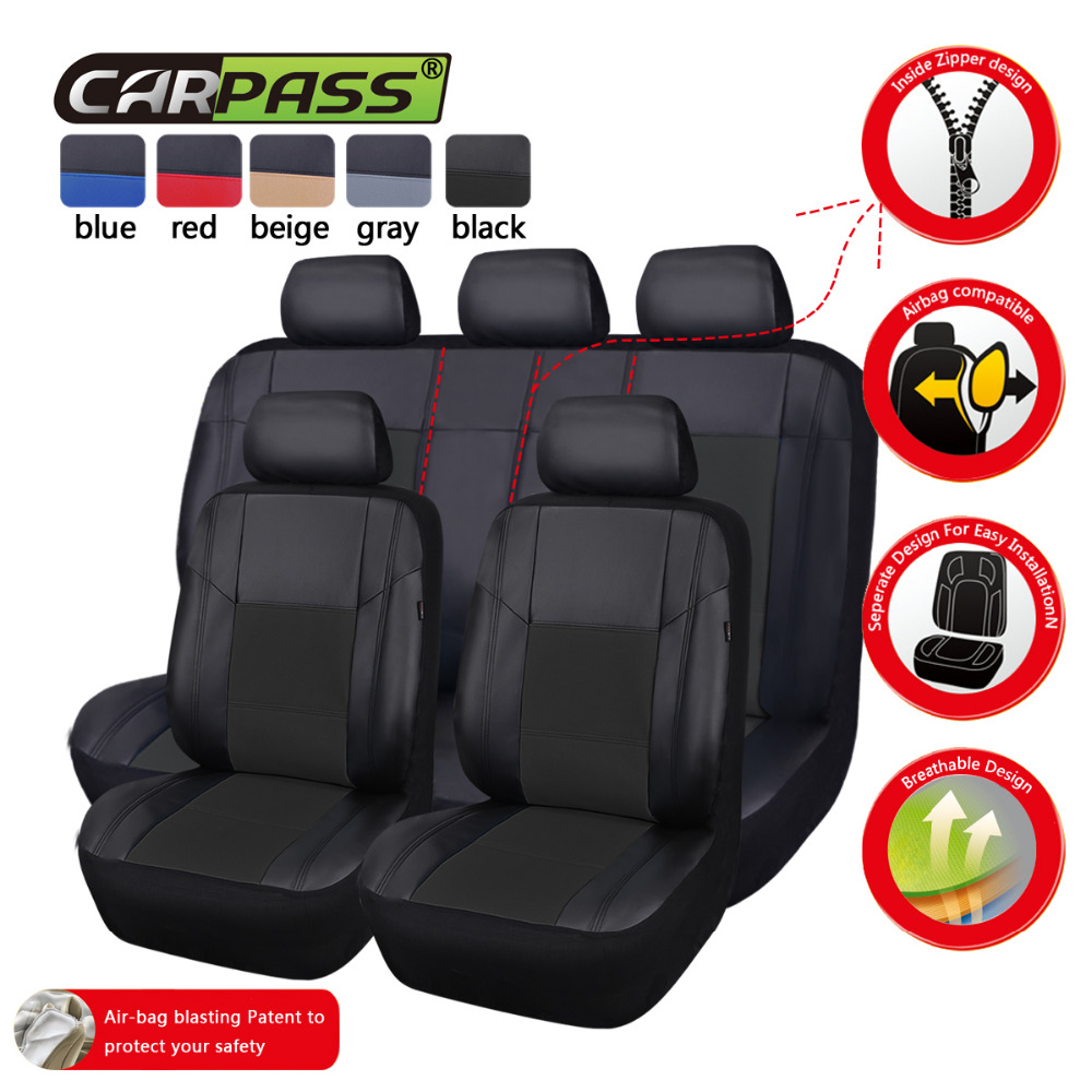 ФОТО Car-pass 11Pcs PU Leather Auto Car Covers Full Synthetic Set Seat Covers Car-Covers For BMW Audi HONDA CRV Ford Nissa All cars