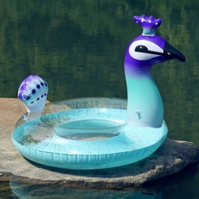 Transparent PVC Peacock Unicorn Flamingo Glitter Swimming Circle Inflatable Swimming Mattress Sequin Swim Ring Pool Float 80cm seashell swimming tube transparent swimming circles for kids inflatable colorful glitters pool float swim circle pvc boats