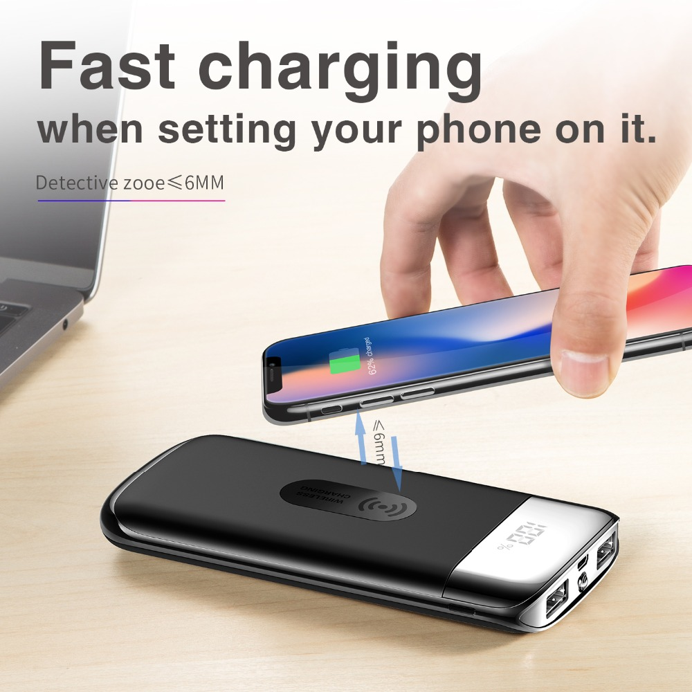 Qi Drahtlose Ladegerät Power Bank 30000 mah Tragbare Dual USB mit Digital Display Externe Batterie Power 18650 Für iphone X 7 8